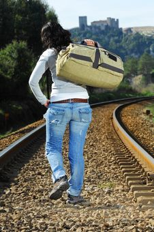 Free Walking On A Railway Royalty Free Stock Images - 8228989