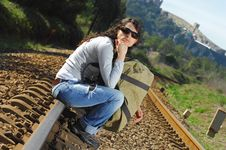 Free Sitting On A Railway Royalty Free Stock Images - 8229139
