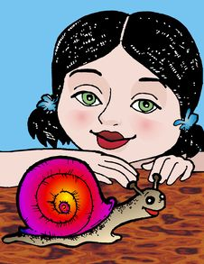 Girl And Snail Stock Photo