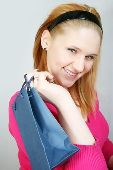 Free Woman With Shopping Bag Stock Photography - 8229782
