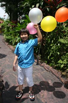 Free Boy Holding Balloons Stock Photo - 8229890