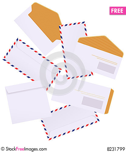 Envelopes on isolated background Cartoon Illustration