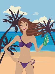 Girl In Bikini With A Bottle On A Beach Royalty Free Stock Photo