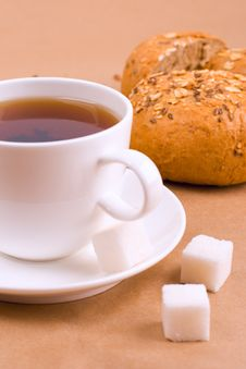 Free Tea, Sugar And Bread Royalty Free Stock Photography - 8230887