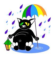 Cat With Umbrella Stock Photography