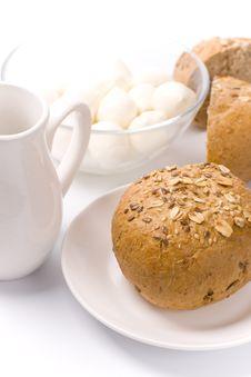 Free Bread, Milk And Mozzarella Stock Photography - 8230992