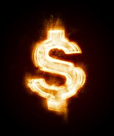 Free Fiery Sign Of Dollar Sanctified From A Dust Stock Photo - 8231720