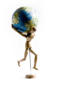 Free Manikin Holding A Globe Stock Image - 8231761