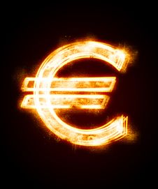 Free Conflagrant Luminous Sign Of Euro Royalty Free Stock Image - 8231766