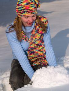 Free Girl Takes A Snow Stock Image - 8232221