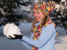 Free Girl Keeps Snowball Stock Photos - 8232233
