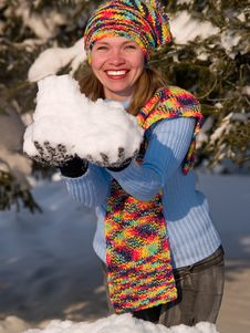 Free Girl Keeps Snowbal Royalty Free Stock Photography - 8232307