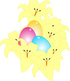 Free Yellow Lilies And Egg Illustration Stock Image - 8232371