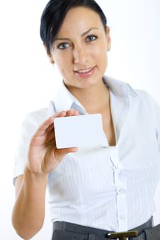 Free Attractive Business Woman Holding A Blank Card Stock Photo - 8234000
