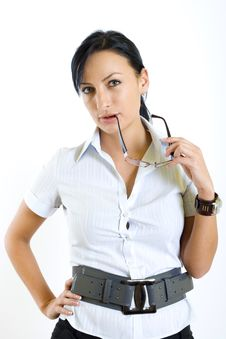 Attractive Businesswoman Holding Her Glasses Royalty Free Stock Images