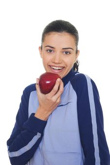 Free Young Woman Holding Apple Royalty Free Stock Images - 8234299