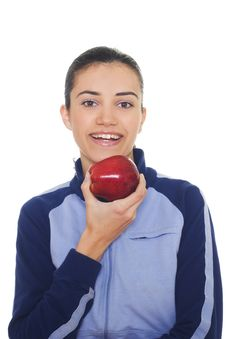 Free Young Woman Holding Apple Royalty Free Stock Photo - 8234315