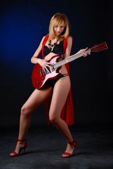 Free Woman With Electric Guitar Stock Photo - 8235050