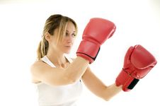 Free Kickboxer Woman Training Stock Photo - 8235860