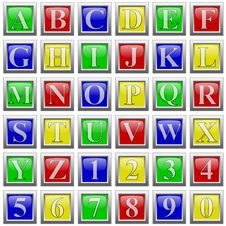 Alphabet And Numbers In Glossy Buttons Stock Photos