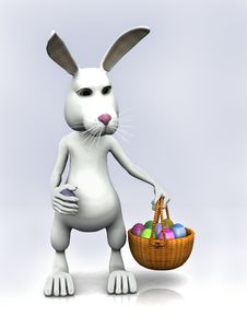 Free Cartoon Easter Bunny Holding A Basket With Eggs Royalty Free Stock Photo - 8236355