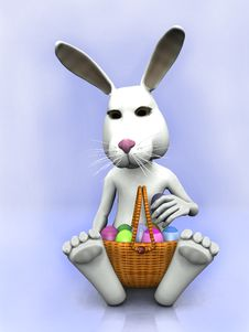 Free Cartoon Easter Bunny With A Basket With Eggs Royalty Free Stock Images - 8236359