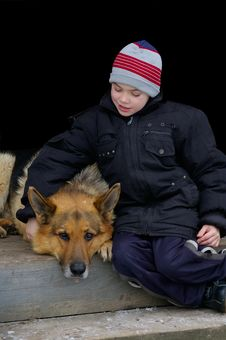 Boy With A Dog Royalty Free Stock Photography