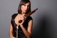 Free Flirting Girl With A Musket Stock Photos - 8237133