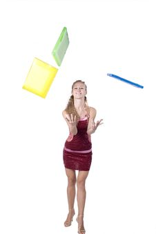 Free The Young Businesswoman At Office Behind Work Stock Photo - 8239580