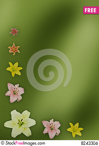 Free Green Background With Lilies Royalty Free Stock Image - 8243306