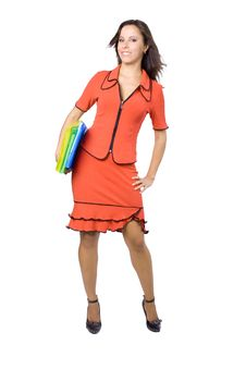 Free The Young Businesswoman At Office Behind Work Royalty Free Stock Photos - 8240178