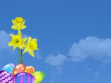 Free Easter Eggs And Daffodils Royalty Free Stock Images - 8241039