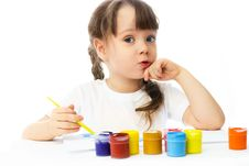 Little Girl Painting With Watercolor Royalty Free Stock Photo