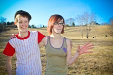 Free Two Girls In The Field Royalty Free Stock Images - 8242019