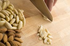 Chopping Almonds Royalty Free Stock Image
