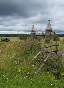 Free Ancient Wooden Russian Church, Storm-clouds In Sky Stock Image - 8242941