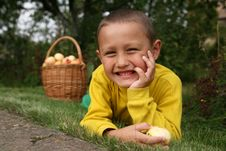 Free Boy With Apples Stock Photography - 8243102