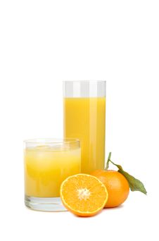 Tangerines And Juice From Tangerines Stock Photo