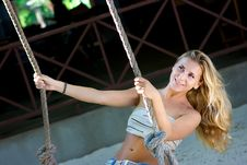 Lady On Swings Stock Photography