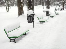 Benches In Winter Royalty Free Stock Photography