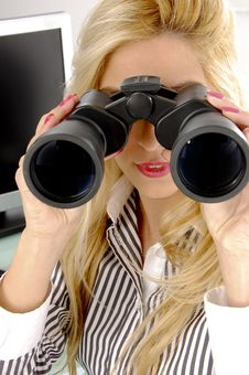 Free Front View Of Female Looking Through Binocular Royalty Free Stock Photo - 8243935