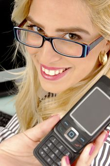 Free Close View Of Female Showing Cell Phone Stock Photography - 8243942