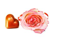 Celebrating Love - Heart Shaped Chocolate And Rose Royalty Free Stock Photos