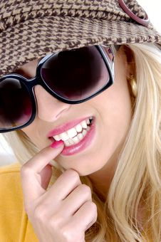 Free Front View Of Smiling Female Biting Her Finger Royalty Free Stock Photos - 8244058