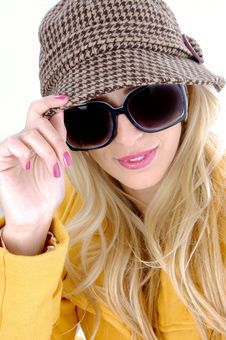 Free Front View Of Stylish Female In Sunglasses Royalty Free Stock Photo - 8244065