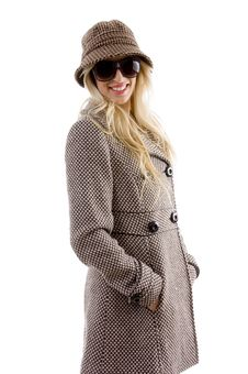 Free Side View Of Smiling Female In Overcoat Stock Image - 8244081