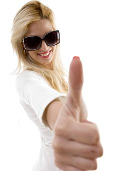 Free Side View Of Smiling Woman Showing Thumbs Up Royalty Free Stock Photos - 8244088