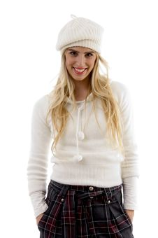 Free Front View Of Smiling Female With Hat Stock Photography - 8244152
