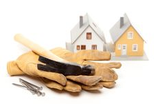 Free Hammer, Gloves, Nails And House Royalty Free Stock Photos - 8244628