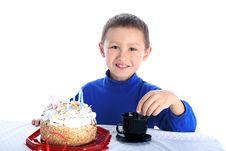 Free Boy With Birthday Cake Stock Photos - 8244793